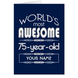 75th Birthday Worlds Best Fabulous Dark Blue Cards