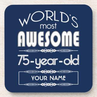 75th Birthday Worlds Best Fabulous Dark Blue Beverage Coasters