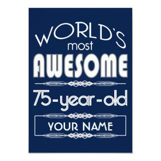 75th Birthday Worlds Best Fabulous Dark Blue 13 Cm X 18 Cm Invitation Card