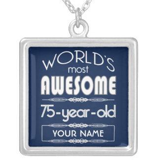 75th Birthday Worlds Best Fabulous Dark Blue Necklaces