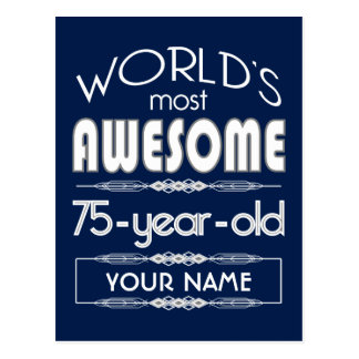 75th Birthday Worlds Best Fabulous Dark Blue Post Cards