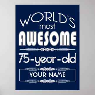 75th Birthday Worlds Best Fabulous Dark Blue Print