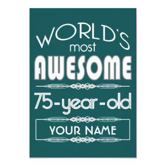 75th Birthday Worlds Best Fabulous Dark Green Personalized Announcement