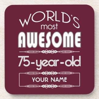 75th Birthday Worlds Best Fabulous Dark Red Beverage Coaster