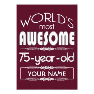 75th Birthday Worlds Best Fabulous Dark Red Invite