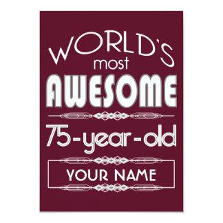 "75th Birthday Worlds Best Fabulous Dark Red Maroon 5"" X 7"" Invitation Card"