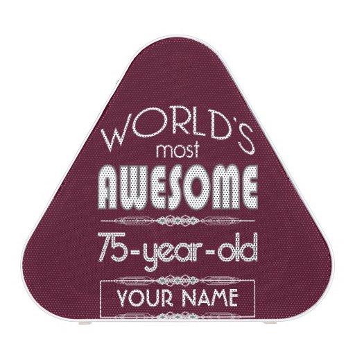 75th Birthday Worlds Best Fabulous Dark Red Maroon Bluetooth Speaker