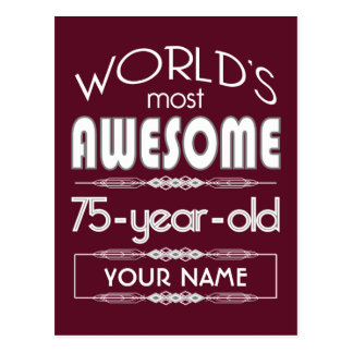 75th Birthday Worlds Best Fabulous Dark Red Maroon Postcards