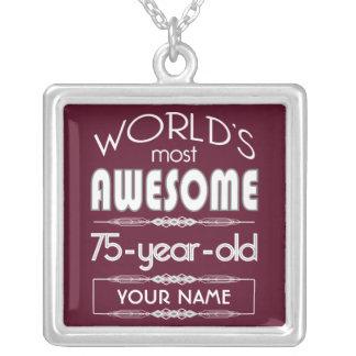 75th Birthday Worlds Best Fabulous Dark Red Jewelry