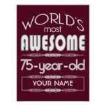 75th Birthday Worlds Best Fabulous Dark Red Poster