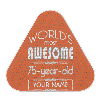 75th Birthday Worlds Best Fabulous Flame Orange Speaker