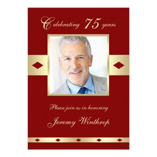 75th Photo Birthday Party Invitation - Burgundy 75 Personalized Invites