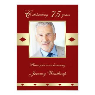 75th Photo Birthday Party Invitation - Burgundy 75