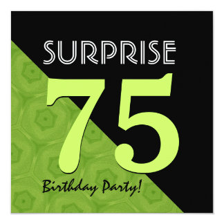 75th Surprise Birthday Lime Green and Black V06B Card