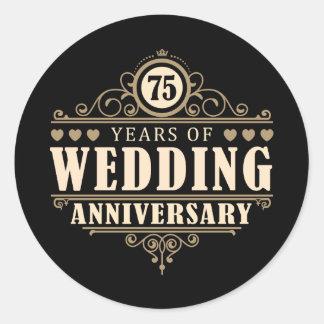 75th Wedding Anniversary Classic Round Sticker