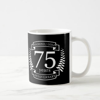 75th Wedding ANNIVERSARY DIAMOND GOLD Coffee Mug