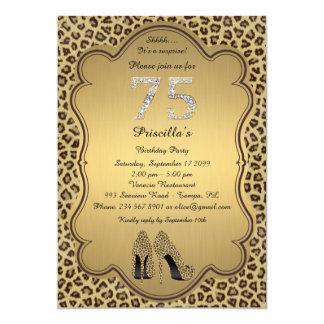 75thBirthday Party , 75th,Cheetah High Heels Shoes Card