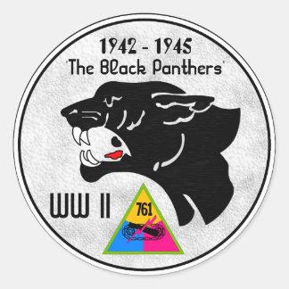 761st TANK BATTALION, BLACK PANTHERS, WW II Classic Round Sticker