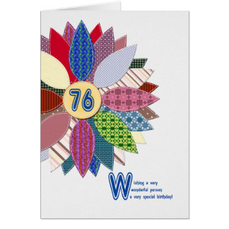 76 years old, stitched flower birthday card