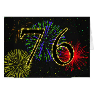 76th Birthday card with fireworks