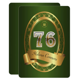 76th,birthday party woman man,elegant color card