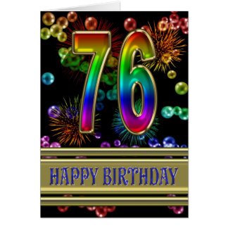 76th Birthday with rainbow bubbles and fireworks Card