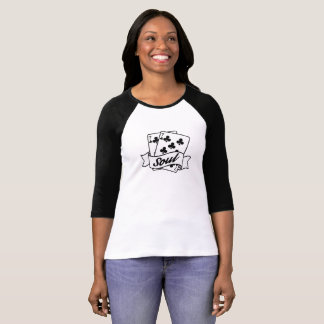 77 Soul 1970s Suit Of Clubs Playing Cards design T-Shirt