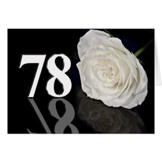 787th Birthday Card with a classic white rose