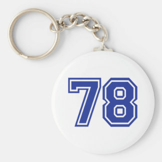 78 - number basic round button key ring