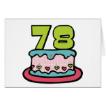 78 Year Old Birthday Cake Greeting Cards