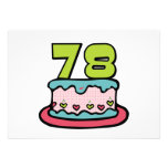 78 Year Old Birthday Cake Personalized Invite