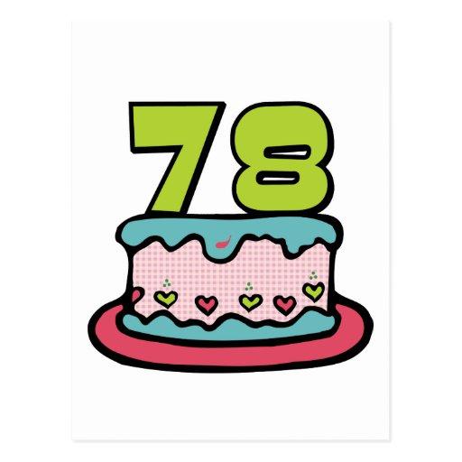 78 Year Old Birthday Cake Postcard
