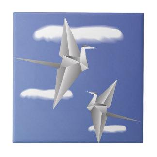 78Paper Birds _rasterized Ceramic Tile