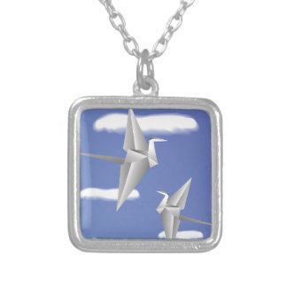 78Paper Birds _rasterized Silver Plated Necklace