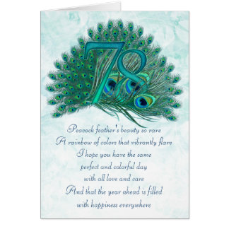 78th birthday decorative numbered cards
