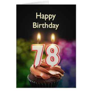 78th Birthday with cake and candles Card