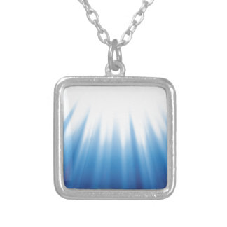 79Blue Background _rasterized Silver Plated Necklace