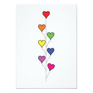 7 Balloon Hearts (2) Birthday 11 Cm X 16 Cm Invitation Card
