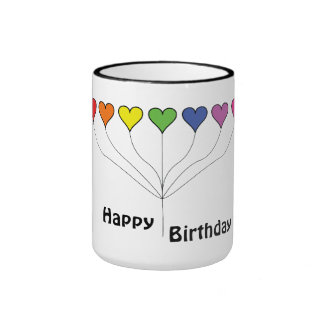 7 Balloon Hearts (2) Birthday Ringer Mug