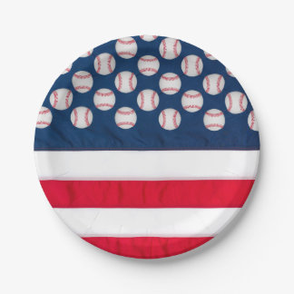 "7"" baseball & American flag paper plate 7 Inch Paper Plate"