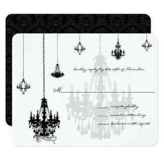 7 Black Chandeliers Wedding RSVP Cards