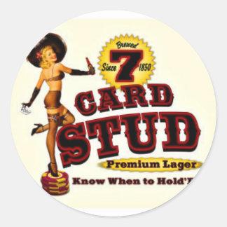 7 CARD STUD CLASSIC ROUND STICKER