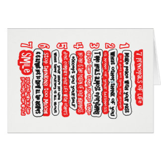 7 CARDINAL RULES FOR LIFE  Graphic Art Wisdom Text Card