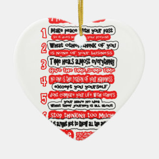 7 CARDINAL RULES FOR LIFE  Graphic Art Wisdom Text Ceramic Heart Decoration