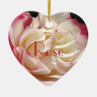 7 Cherry Parfait Rose Double-Sided Heart Ceramic Christmas Ornament