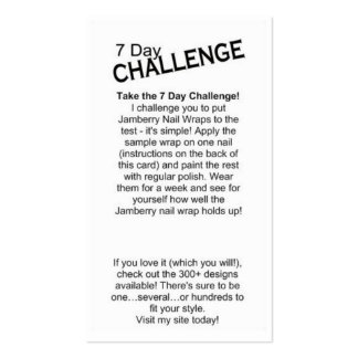 7 Day Challenge Card Pack Of Standard Business Cards