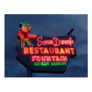 7 Dwarfs Restaurant In Wheaton Il. Retro Neon Sign Postcard