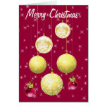 7 Gold & Plum Christmas Tree Ornament Holiday Card