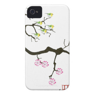 7 sakura blossoms with 7 birds, tony fernandes iPhone 4 case