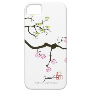 7 sakura blossoms with 7 birds, tony fernandes iPhone 5 cases